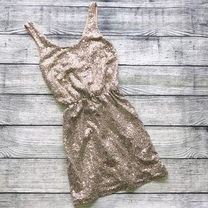 Express Gold Sequin Dress with V-back